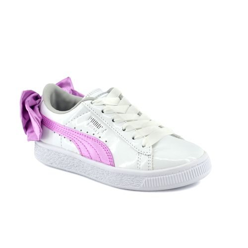 Zapatilla-Puma-Niño-Basket-Bow-Patent-Ac-Ps-Blanco-Rosa