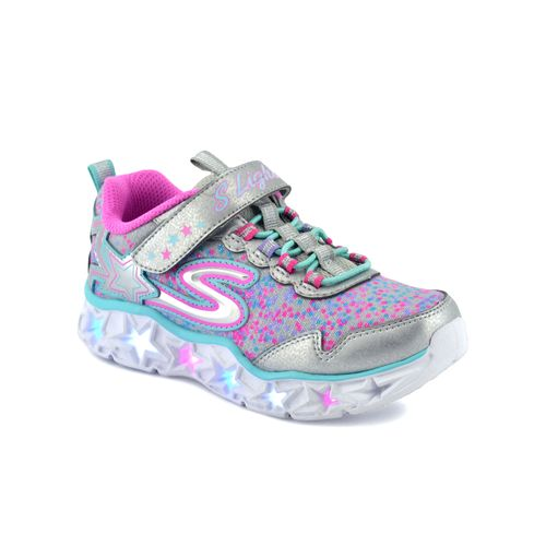 Zapatilla-Skechers-Niño-Galaxy-Lights-Plata-Fucsia