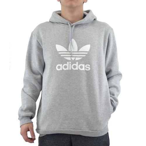 Buzo-Adidas-Hombre-Trefoil-Hoodie-Gris-Blanco-principal