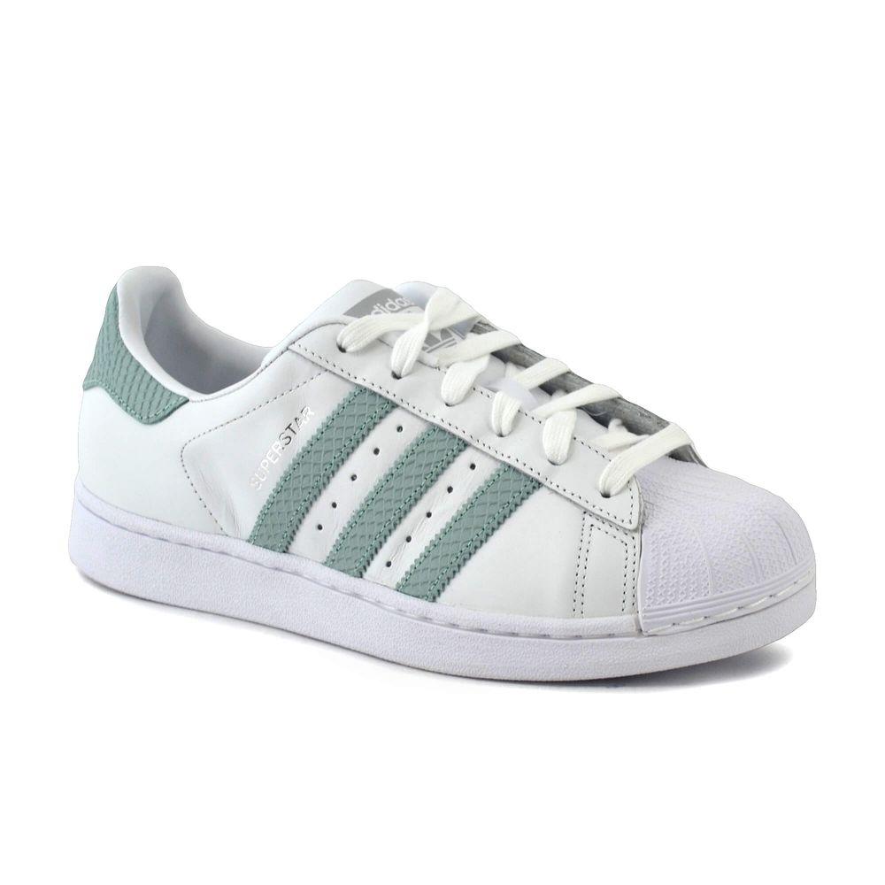 mejor autentico c9d00 5af95 Zapatilla Adidas Mujer Superstar Blanco/Verde Agua ...