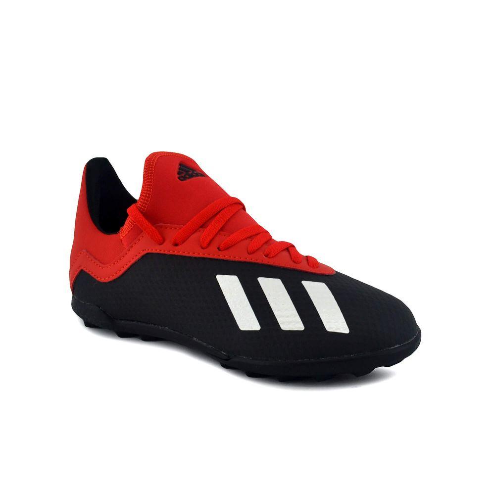 4551fd9f5 Botin Adidas Niño X 18.3 Tf J Futbol Negro Rojo - ferreira